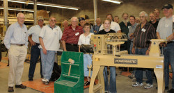 Guild members with Powermatic lathe that was purchased in 2005 and is on long term loan to the Bozeman High School